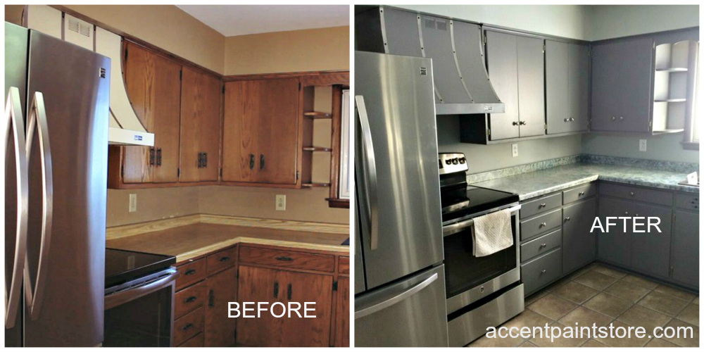 Before and after photographs of an affordable kitchen remodeling project completed by Accent Finishing.